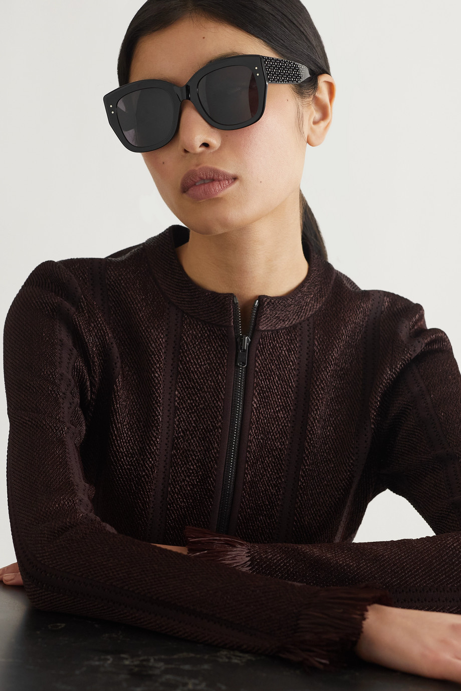 Alaïa Oversized studded square-frame acetate sunglasses