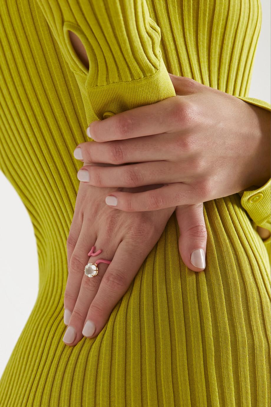 Bea Bongiasca Flower Funk 9-karat gold, silver, enamel and rock crystal ring
