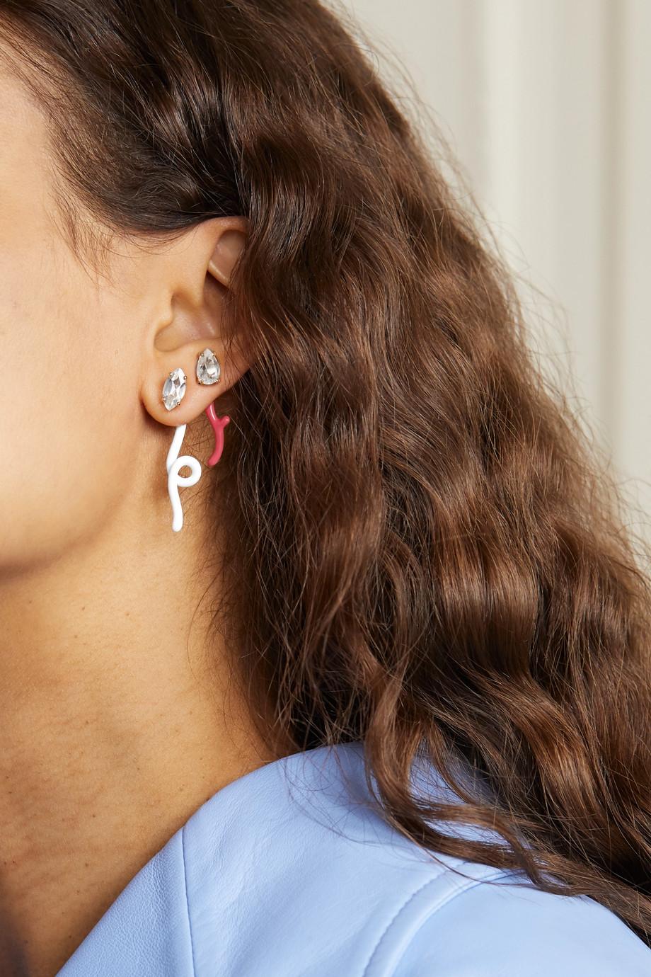 Bea Bongiasca Groovy 9-karat gold, enamel and rock crystal earring