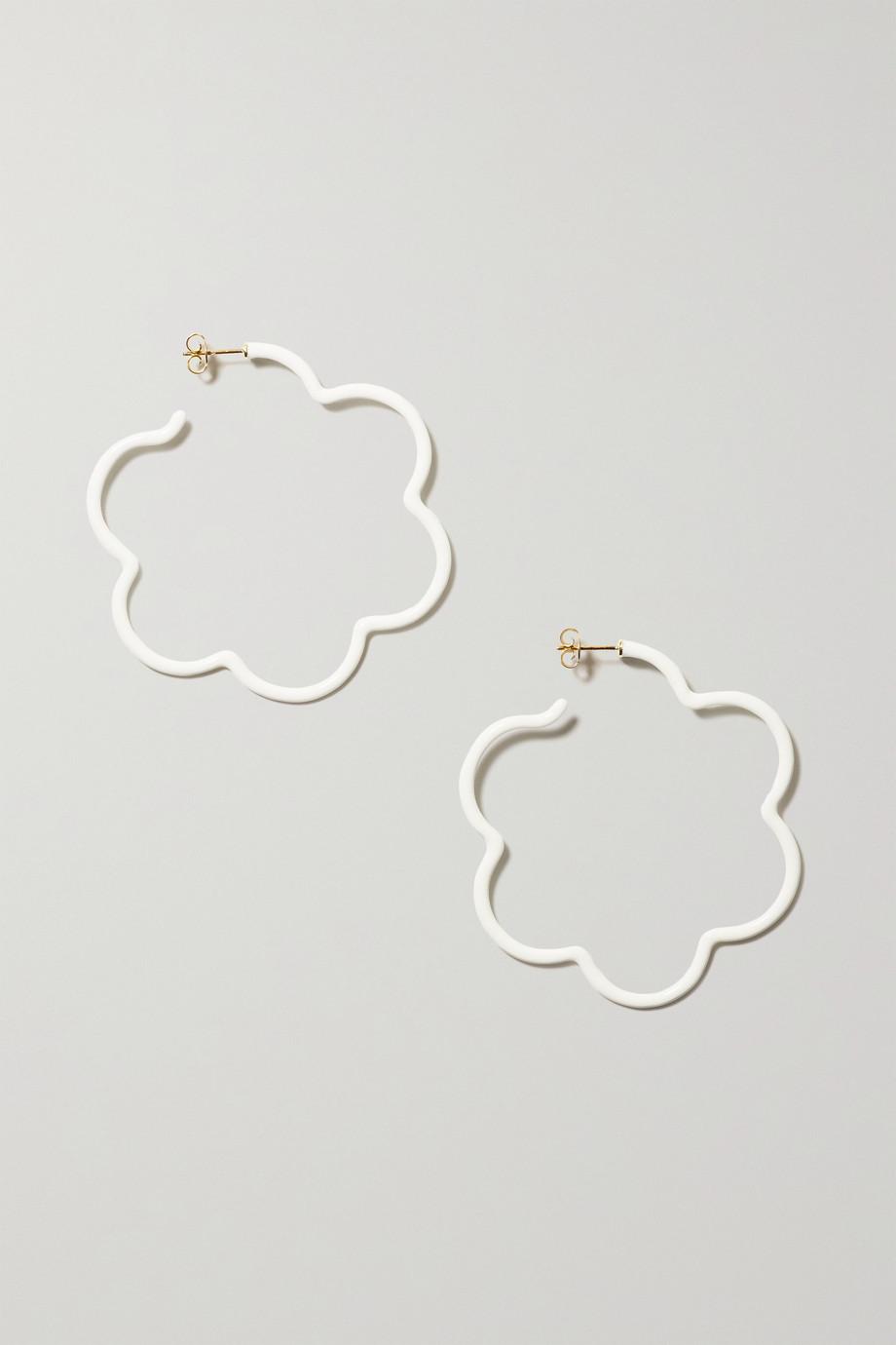 Bea Bongiasca Flower Power 9-karat gold, sterling silver and enamel earrings