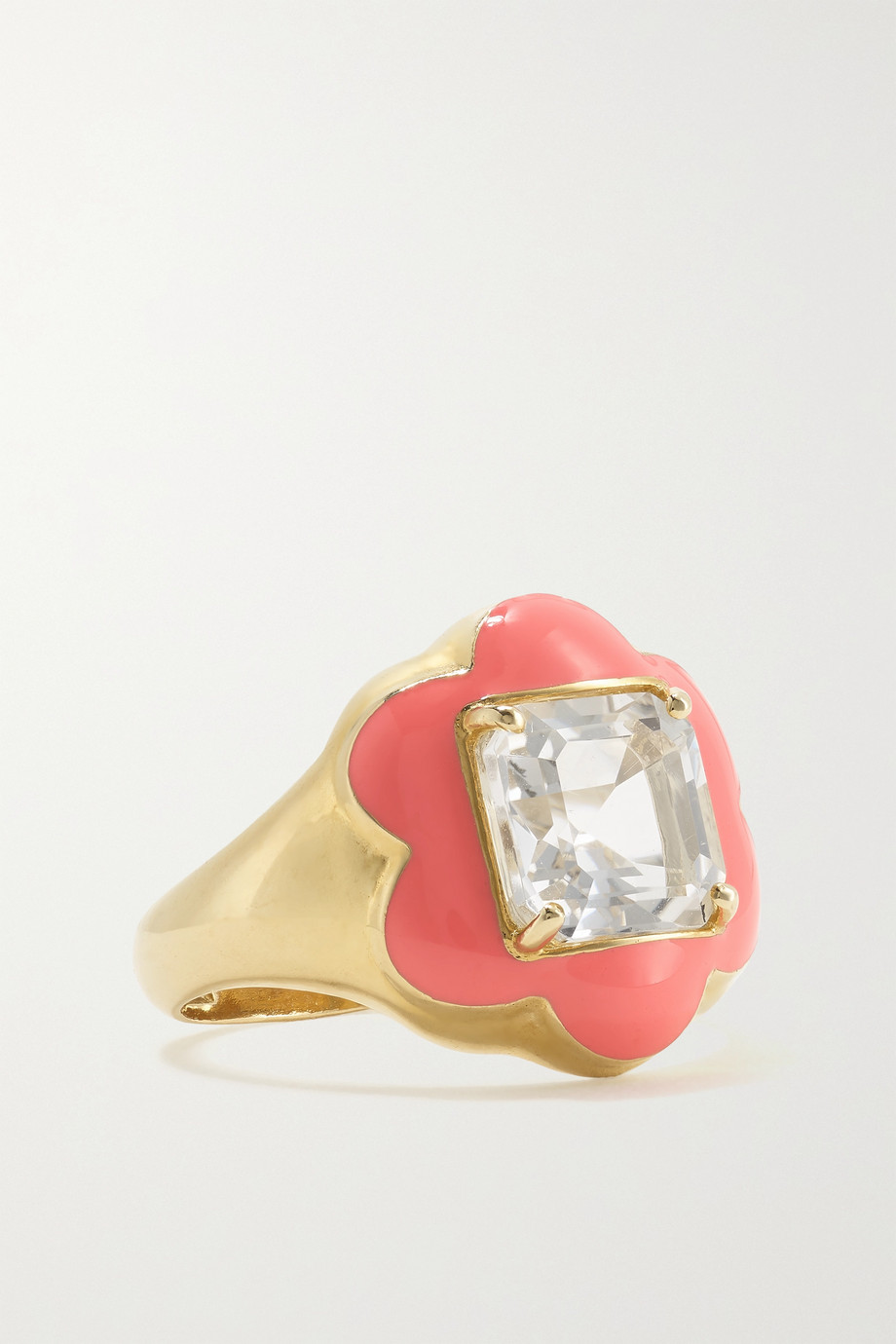Bea Bongiasca Bague en or 9 carats (375/1000), émail et cristal de roche Give Them Flowers