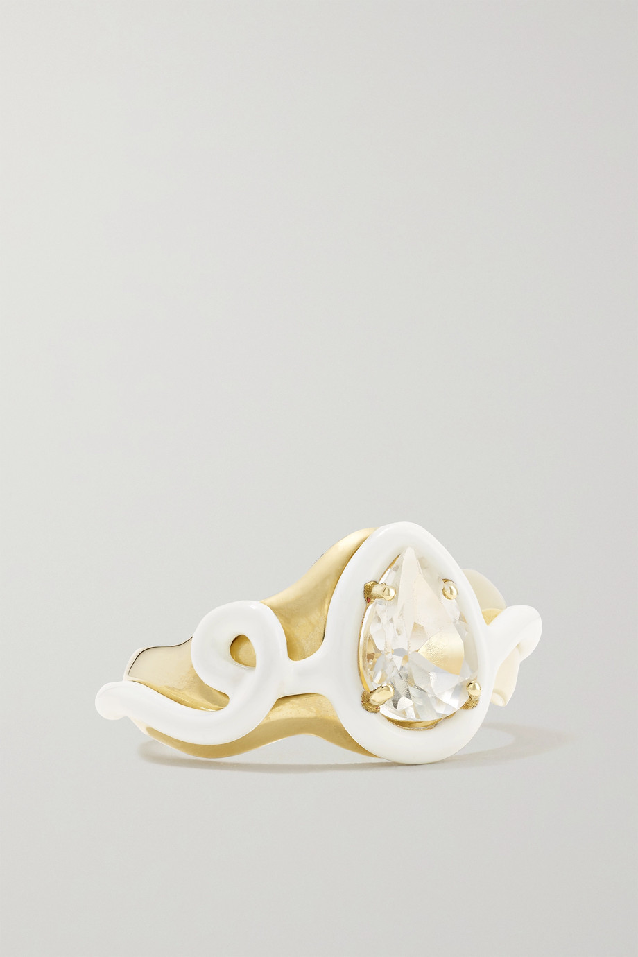 Bea Bongiasca Bague en or 9 carats (375/1000), émail et cristal de roche Totally Awesome Squiggle