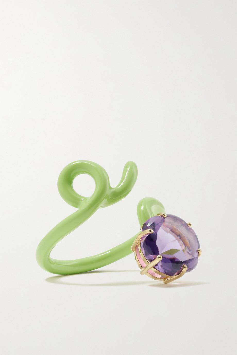 Bea Bongiasca Flower Funk 9-karat gold, silver, enamel and amethyst ring