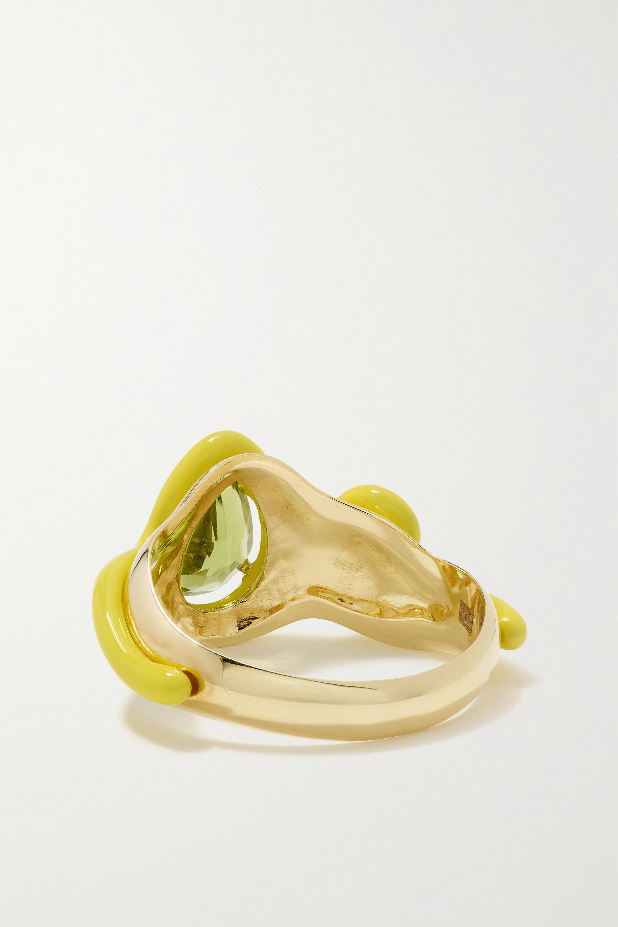 Bea Bongiasca Totally Awesome Squiggle 9-karat gold, enamel and peridot ring