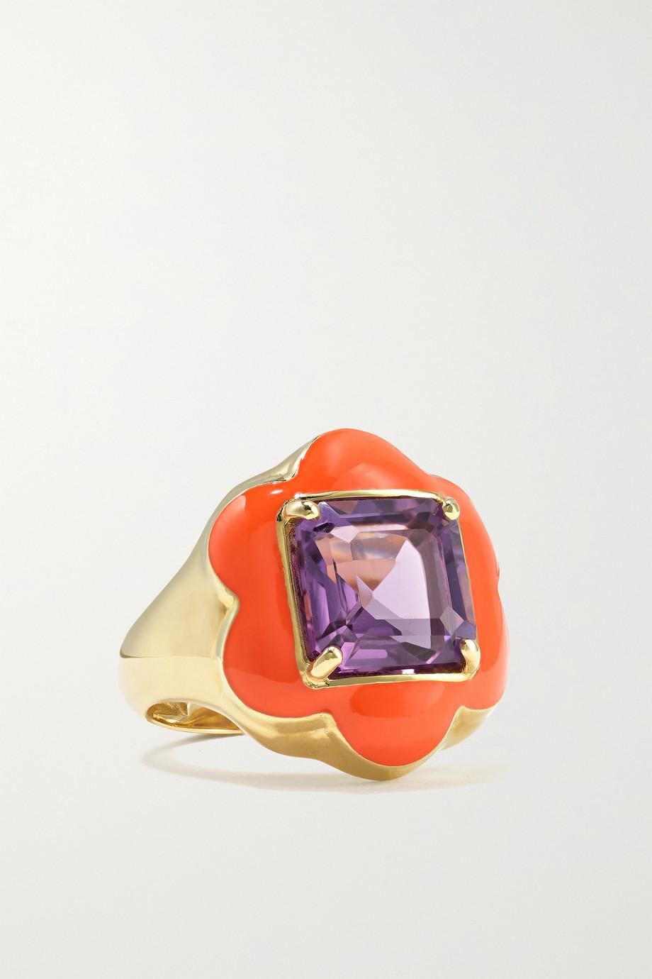 Bea Bongiasca Give Them Flowers Ring aus 9 Karat Gold mit Emaille und Amethyst