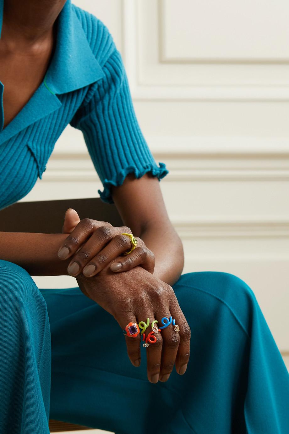 Bea Bongiasca Give Them Flowers 9-karat gold, enamel and amethyst ring