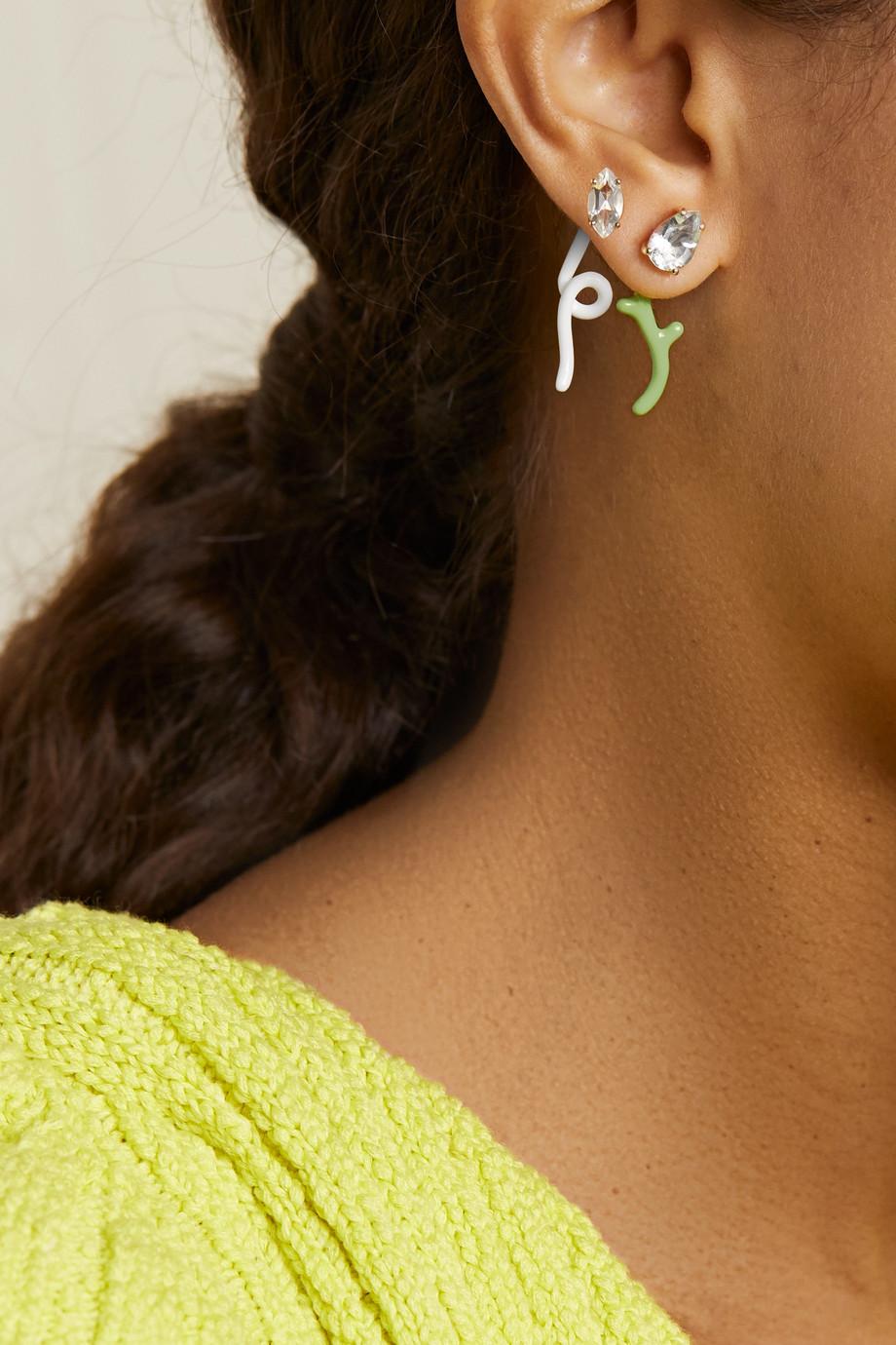 Bea Bongiasca Foxy 9-karat gold, silver, enamel and rock crystal earring