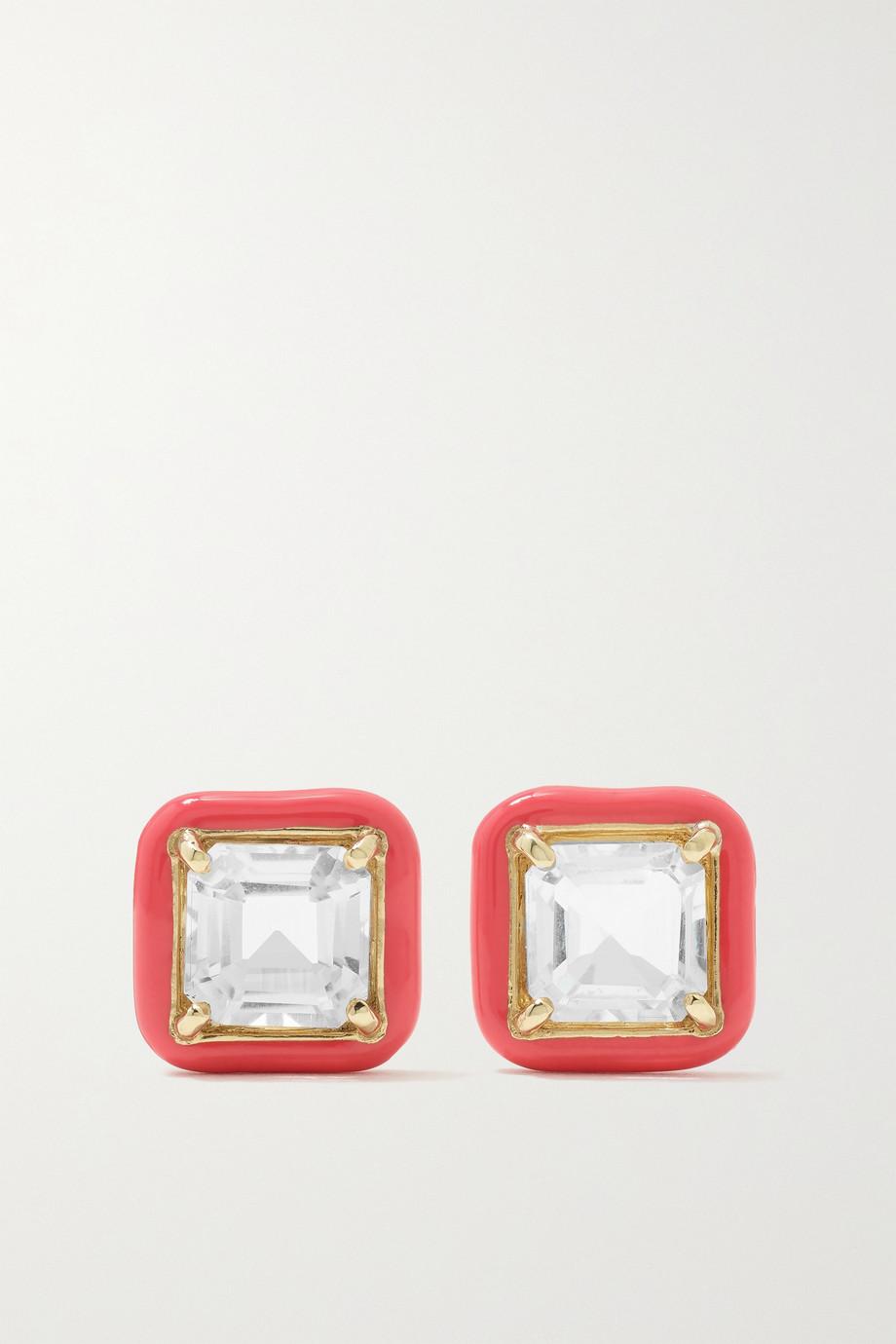 Bea Bongiasca Candy Square 9-karat gold, enamel and topaz earrings
