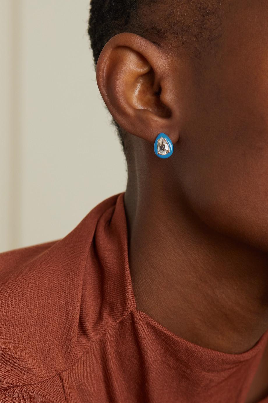 Bea Bongiasca Gum Drop gold, enamel and rock crystal earring