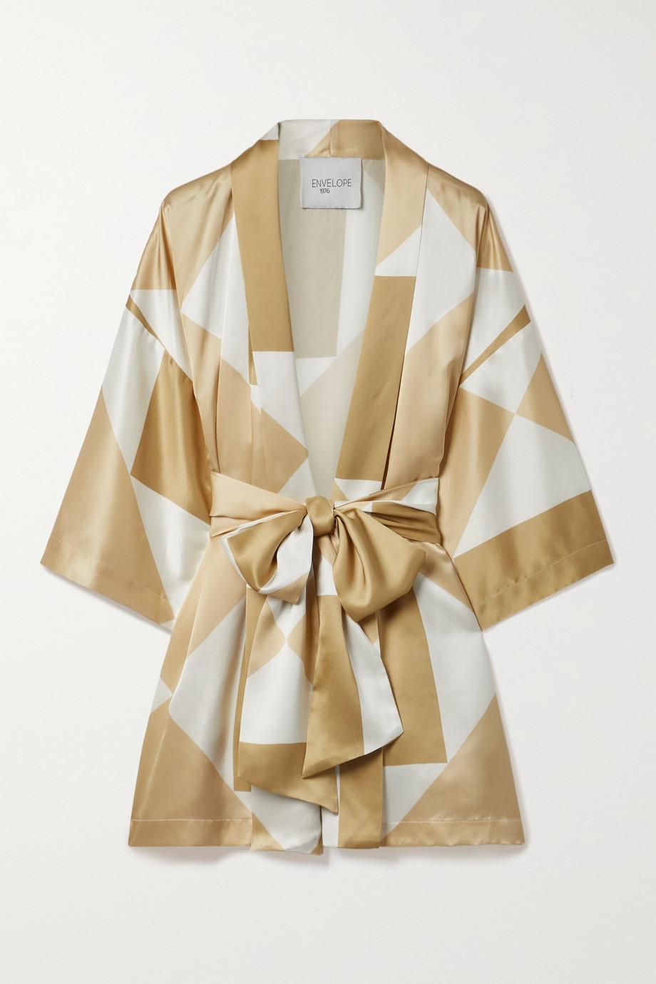 Envelope1976 Kusi belted printed silk kimono