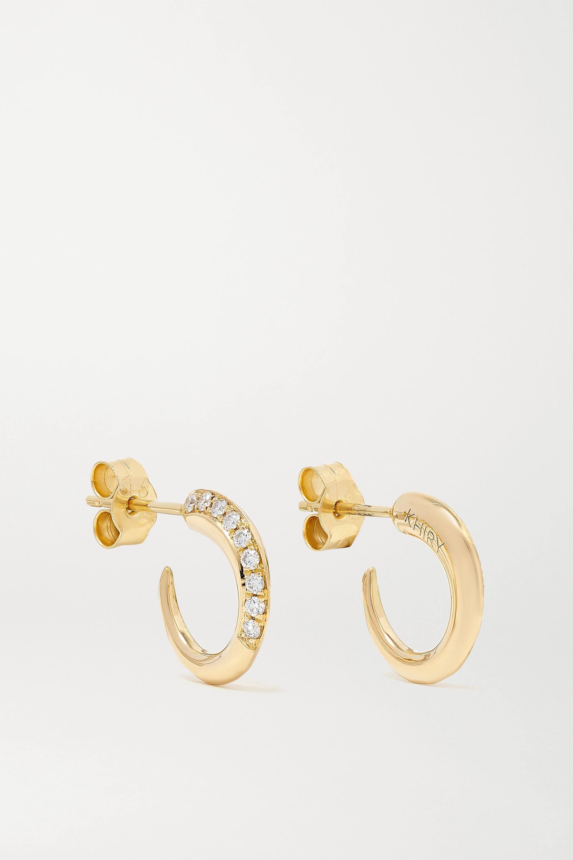 KHIRY Fine Tiny Khartoum 18-karat gold diamond hoop earrings