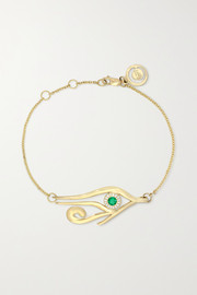 KHIRY Fine Horus 18-karat gold, emerald and diamond bracelet