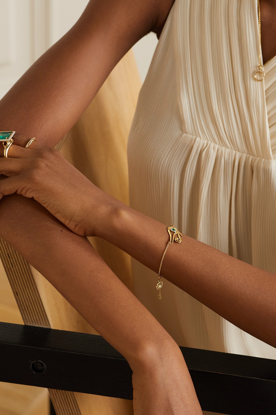 KHIRY Fine Horus 18-karat gold, emerald and diamond bracelet