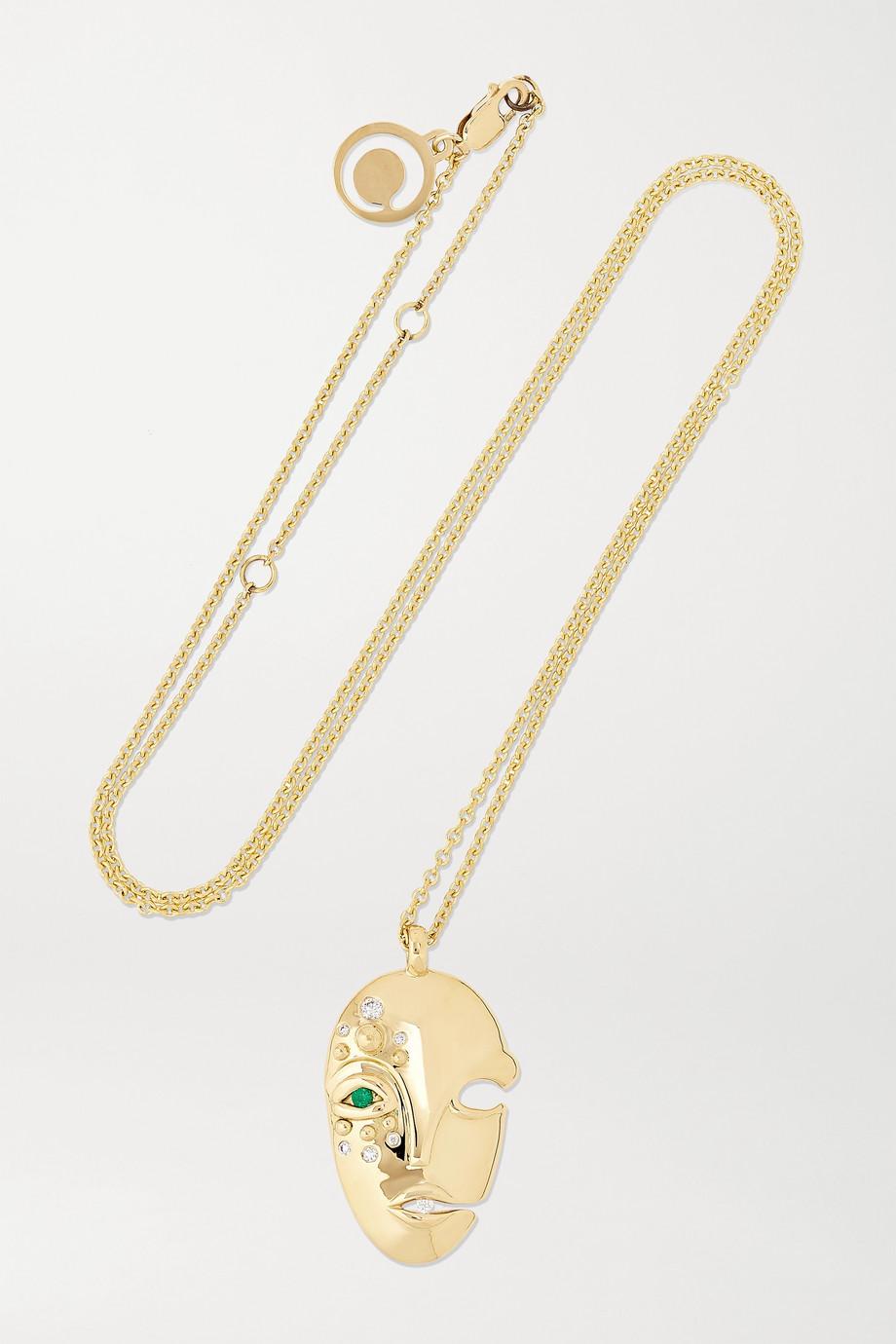 KHIRY Fine Mask Kette aus 18 Karat Gold mit Diamanten und Smaragd