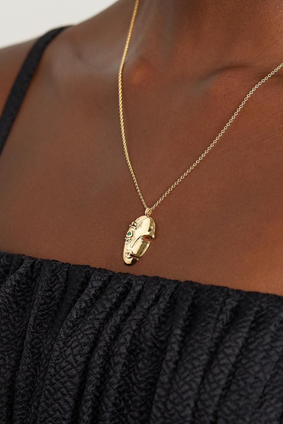 KHIRY Fine Mask 18-karat gold, diamond and emerald necklace