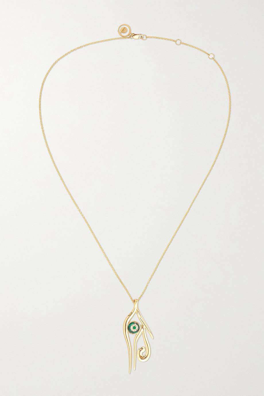KHIRY Fine Collier en or 18 carats et pierres multiples Horus