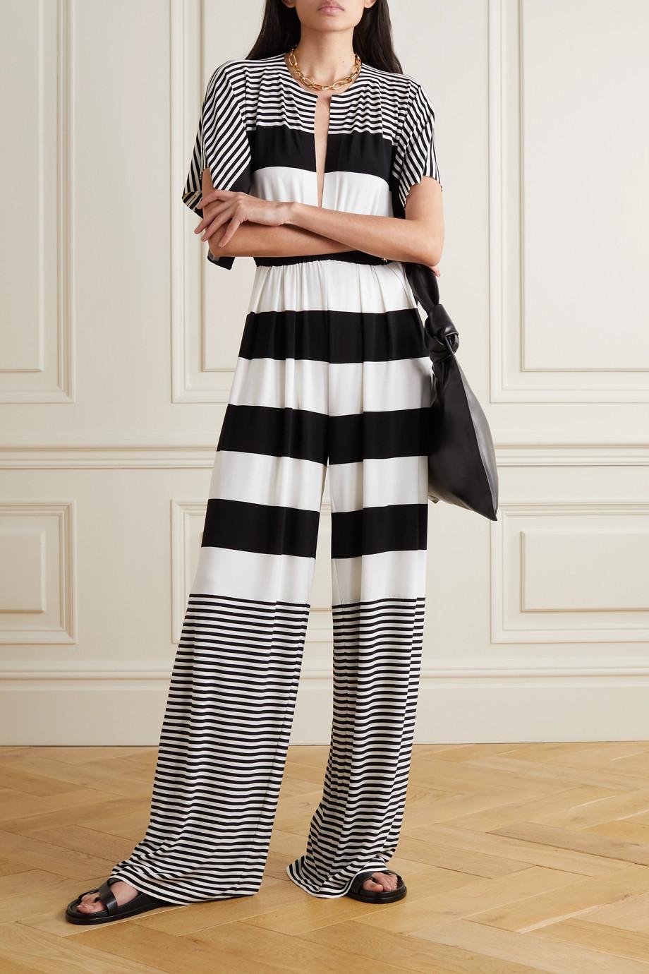 Norma Kamali Combi-pantalon en crêpe stretch à rayures