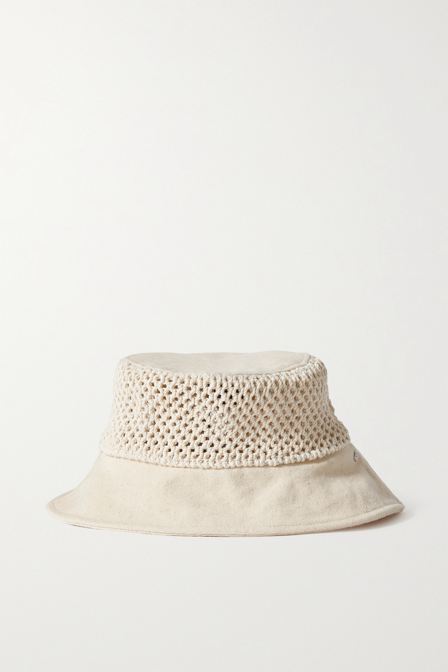 rag & bone Nando Fischerhut aus Baumwoll-Canvas mit recycelten Fasern und Häkeleinsatz