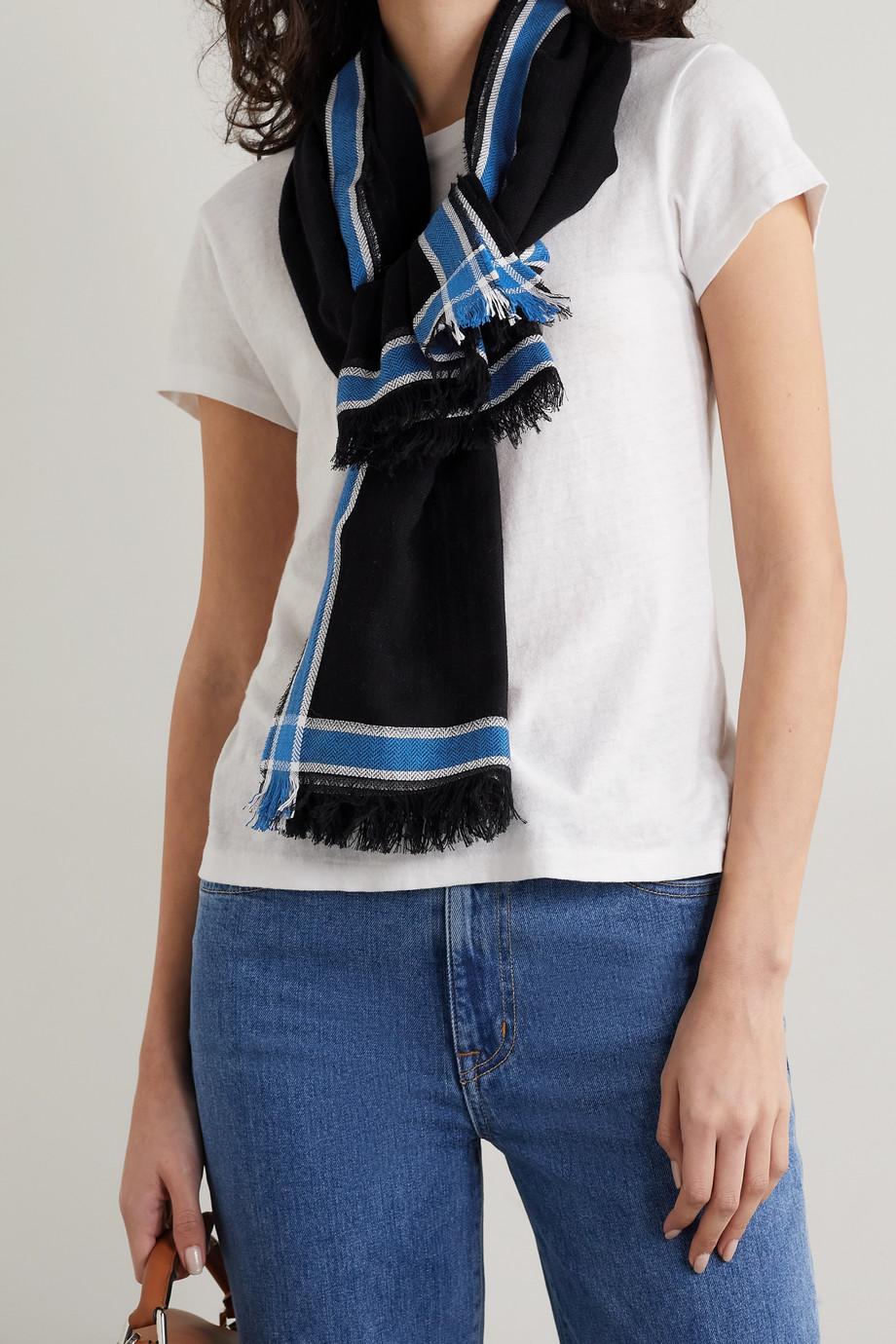 rag & bone Lance frayed striped herringbone cotton-blend scarf