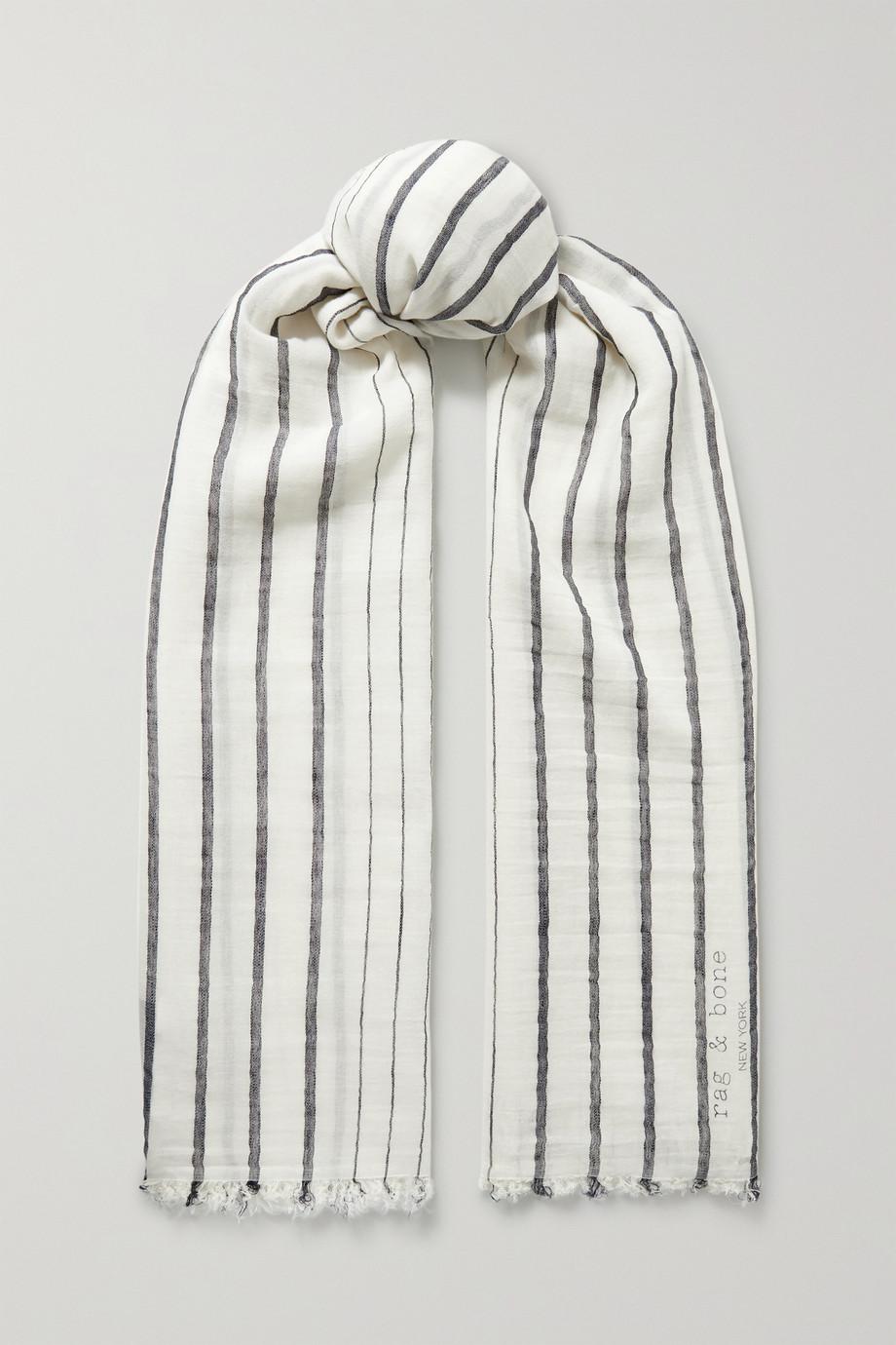 rag & bone Farrah frayed striped cotton and linen-blend voile scarf