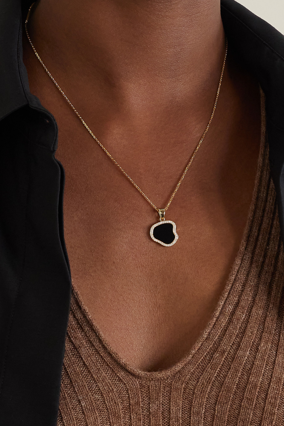 Anissa Kermiche Belle de Nuit 14-karat gold, onyx and diamond necklace