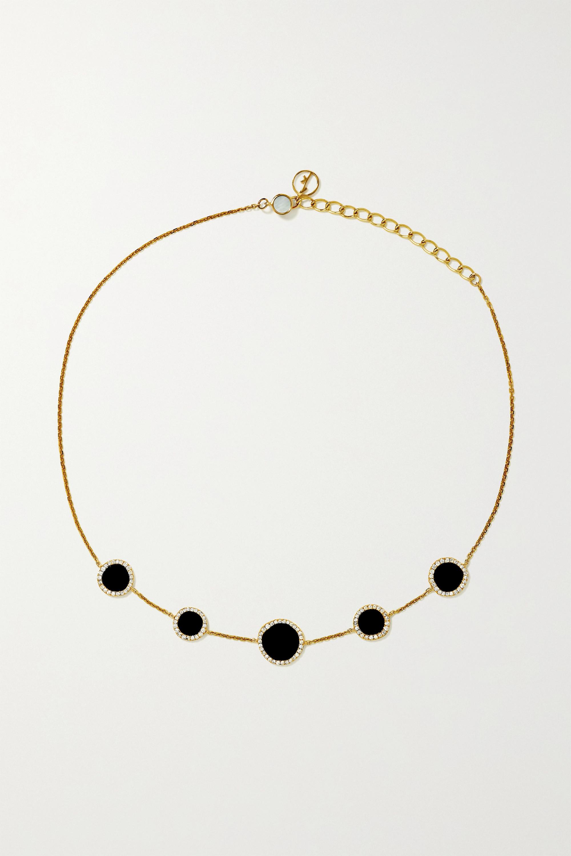 Belle De Nuit Choker aus 12 Karat Gold mit mehreren Steinen