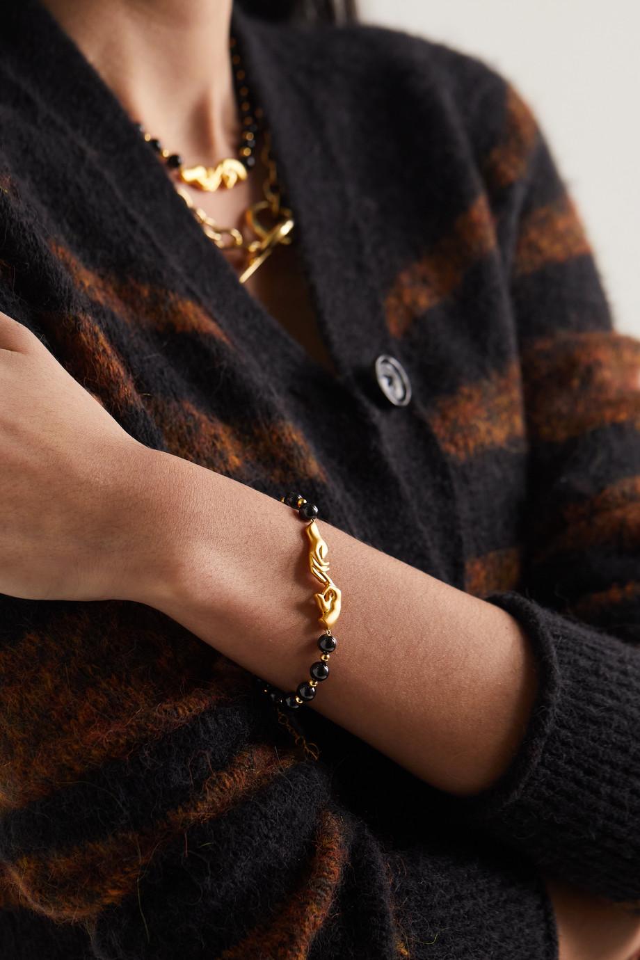 Anissa Kermiche Les Mains gold-plated onyx bracelet