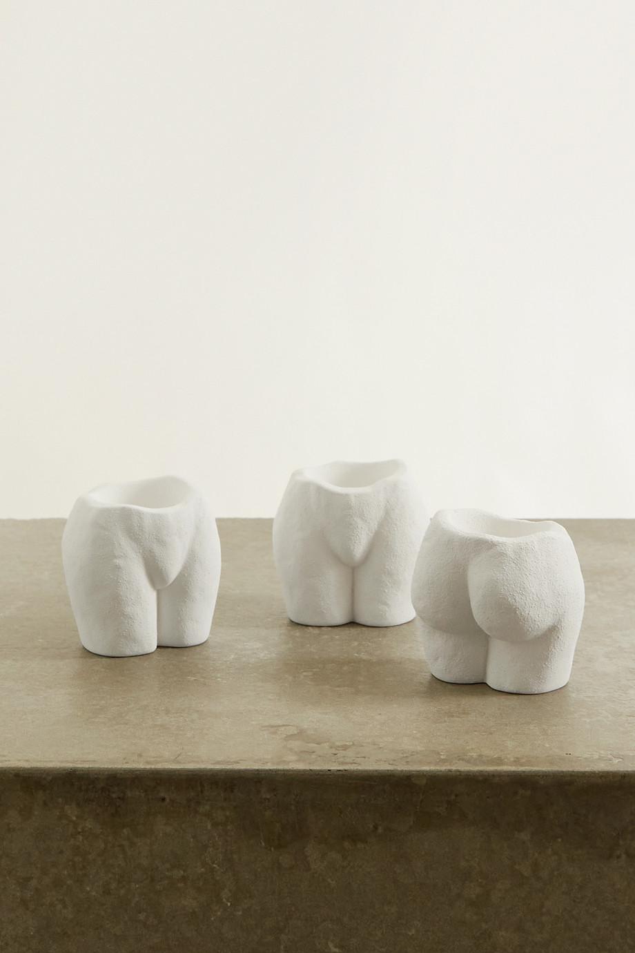Anissa Kermiche Rock Bottom Set aus drei Teelichthaltern aus Keramik