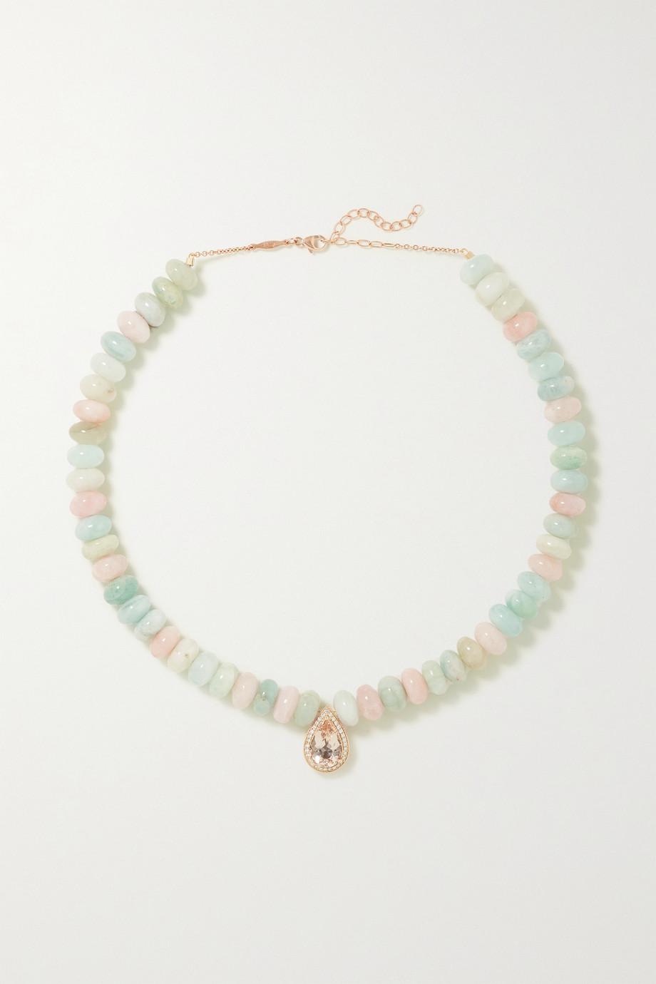 Jacquie Aiche 14-karat rose gold multi-stone necklace