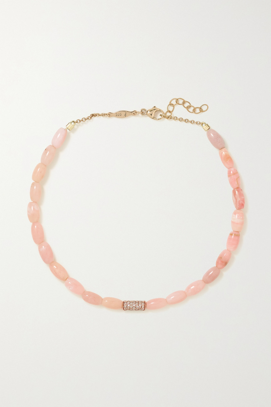 Jacquie Aiche 14-karat rose gold, opal and diamond anklet