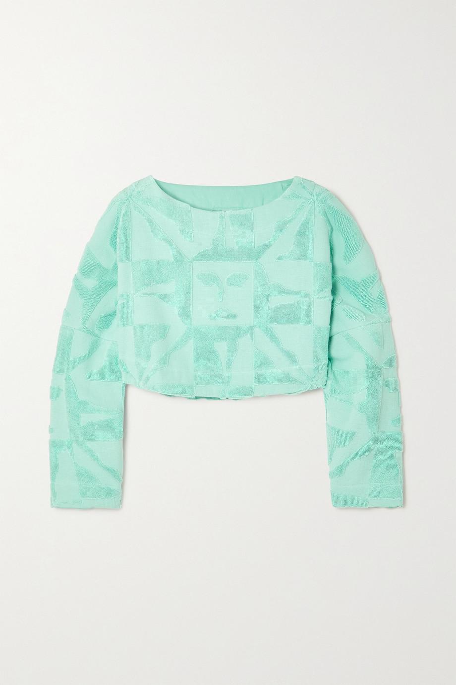 Lucy Folk Beam cropped cotton-terry sweatshirt