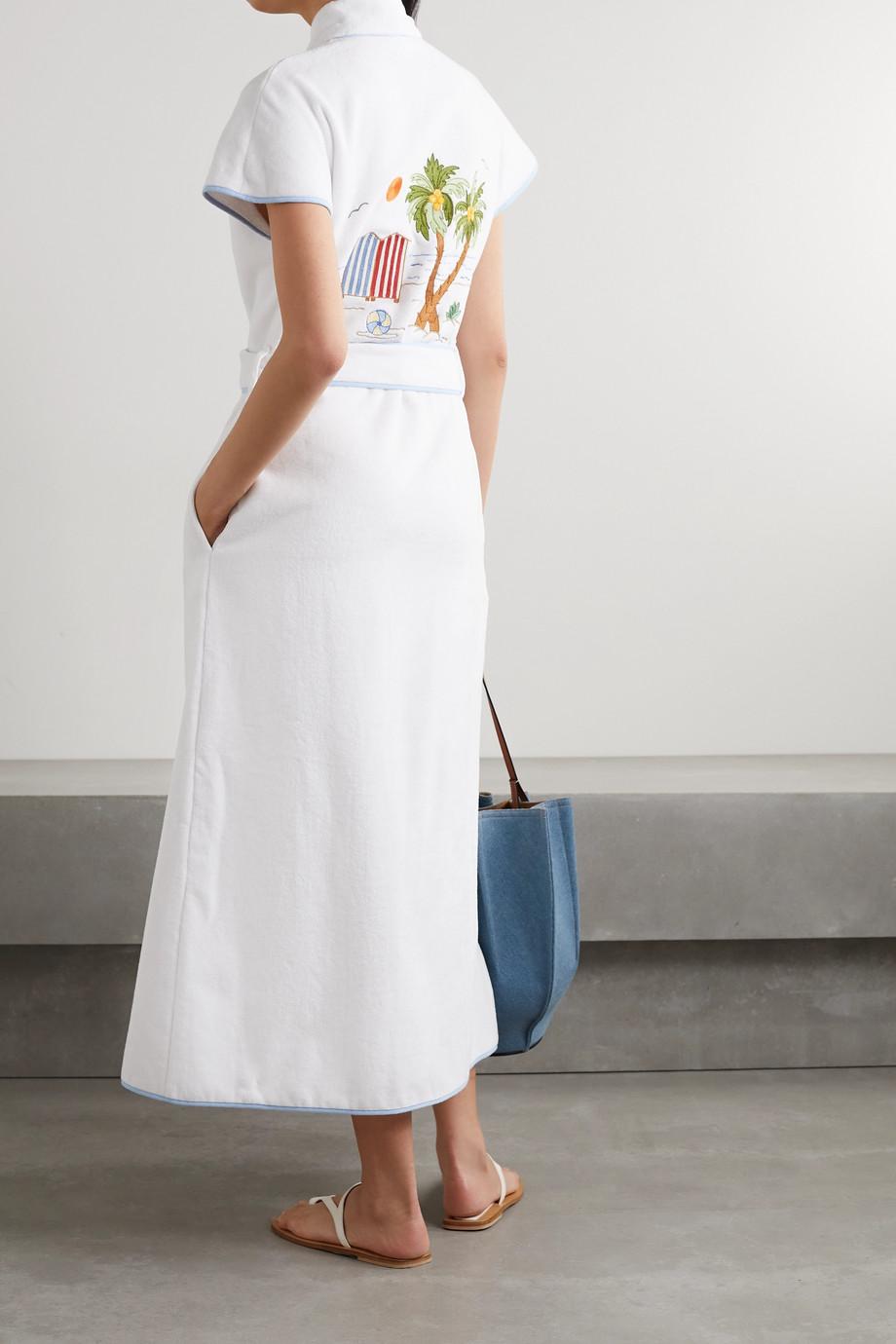 Loretta Caponi Peignoir à capuche en molleton de coton à broderies Lidia