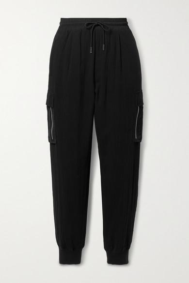 Atm Anthony Thomas Melillo Satin-trimmed Cotton-gauze Track Pants In Black