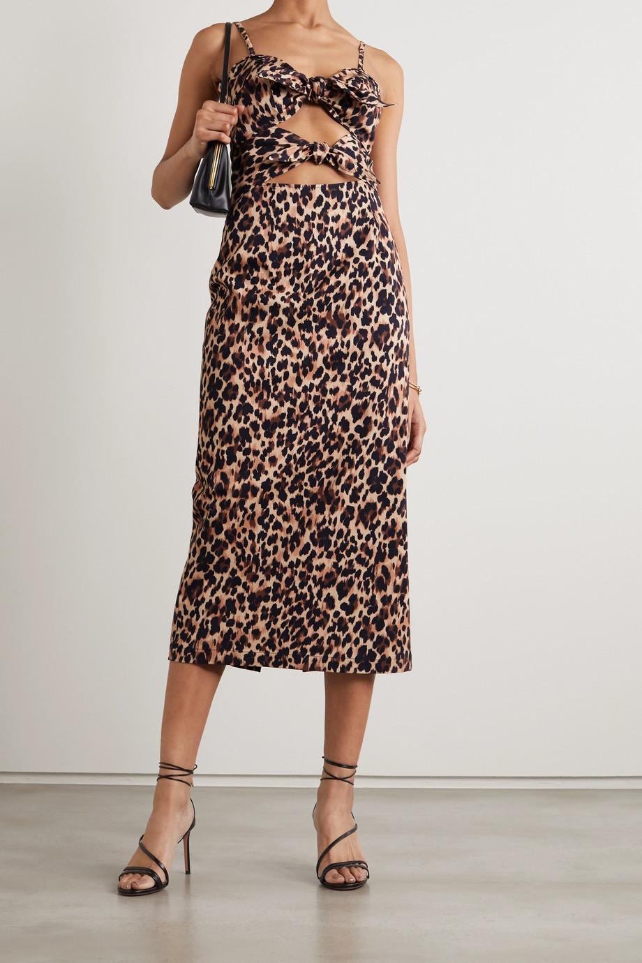 Racil Mia Midikleid aus einer Baumwollmischung mit Leopardenprint und Knoten