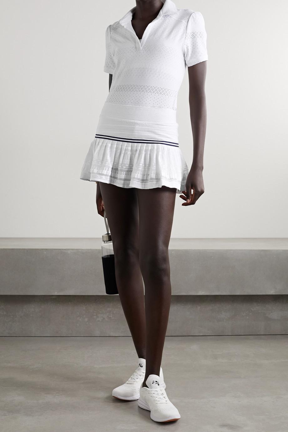 L'Etoile Sport Grosgrain-trimmed pointelle-knit tennis skirt