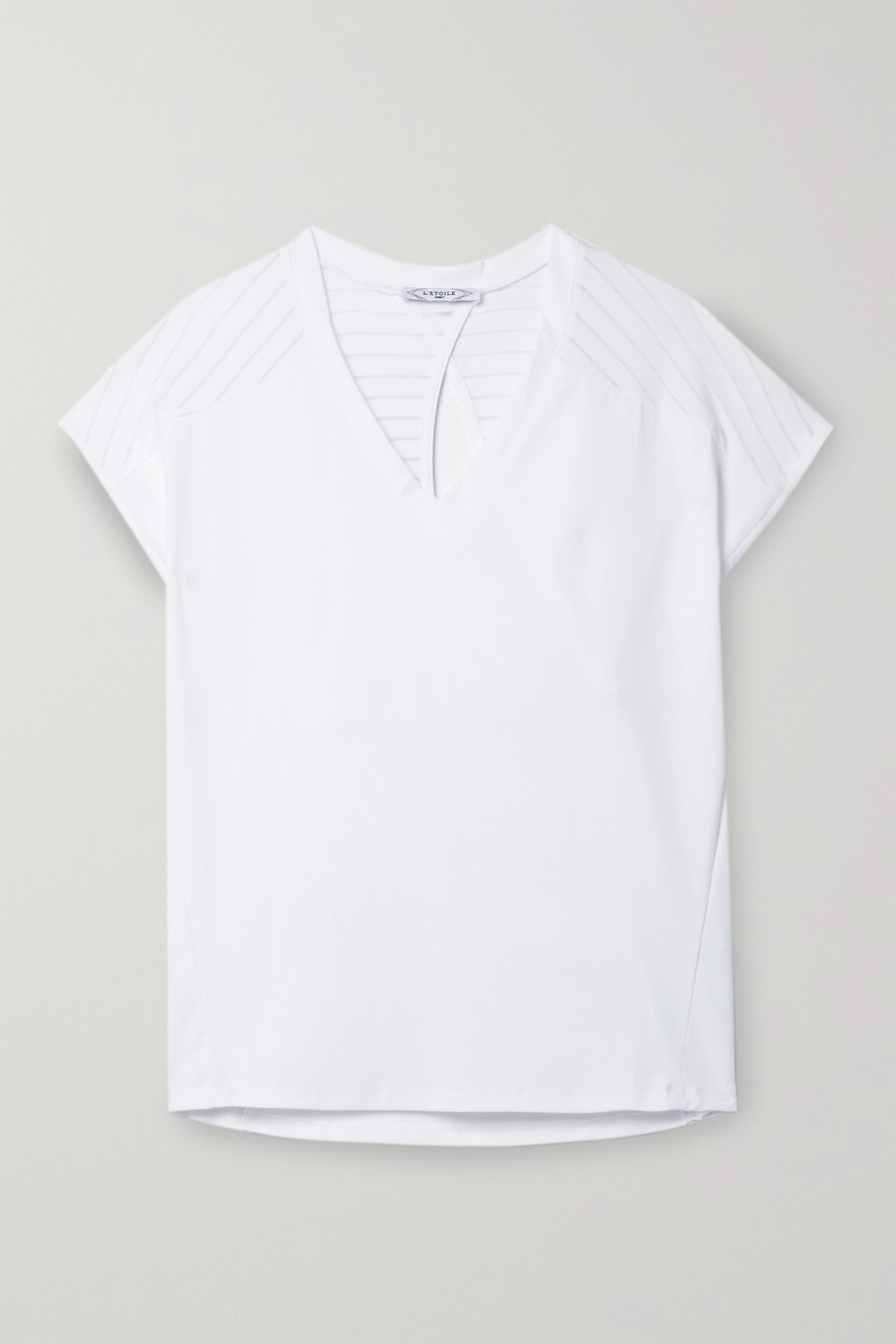 L'Etoile Sport Performance perforated striped stretch-jersey tennis T-shirt