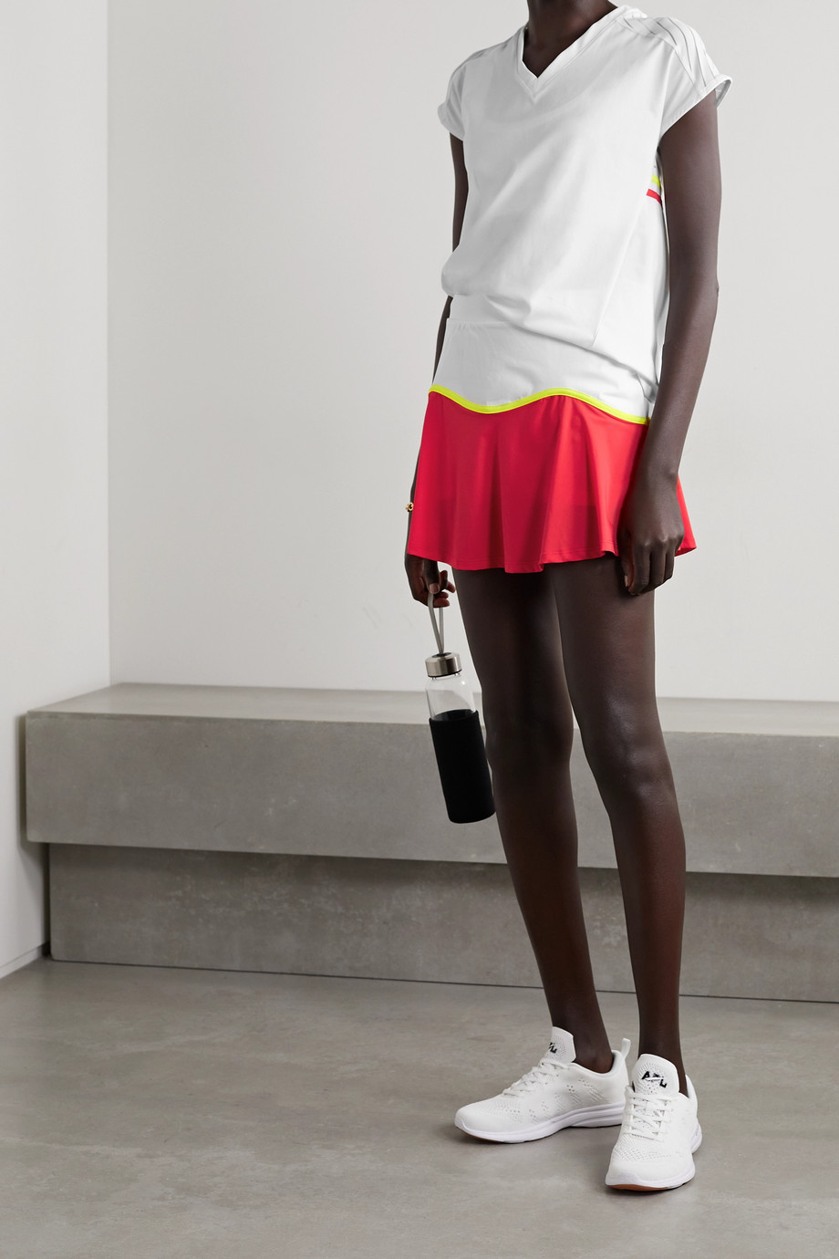 L'Etoile Sport Color-block stretch-jersey tennis skirt
