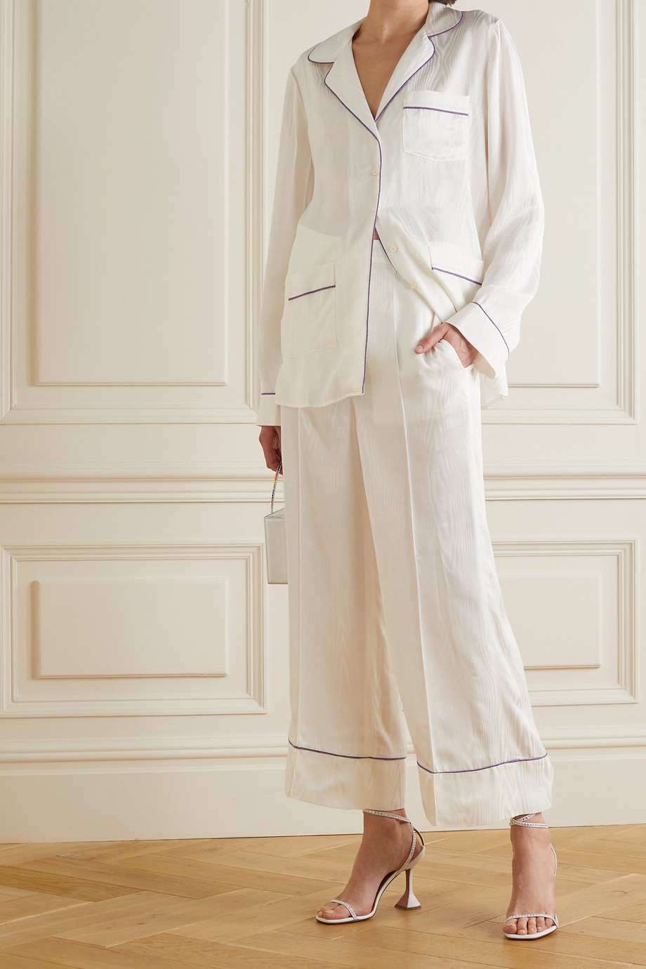 Racil Piped cotton-blend moire pajama set
