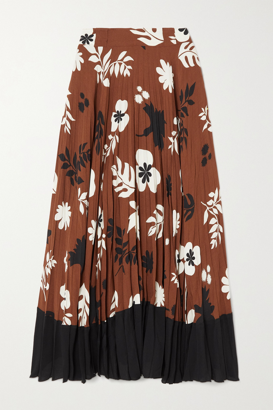 Racil Mara pleated floral-print crepe de chine maxi skirt