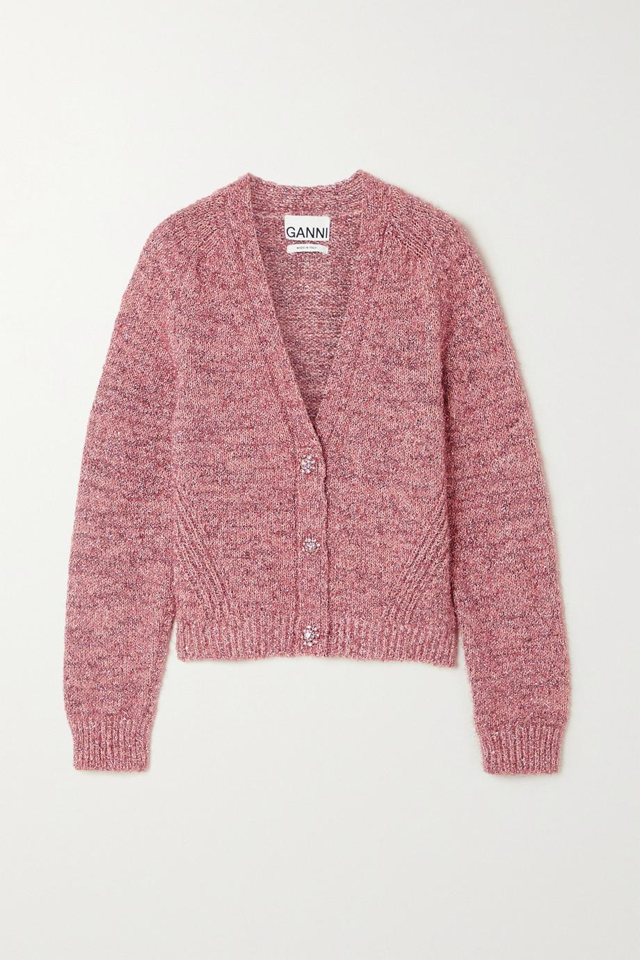 GANNI Crystal-embellished metallic knitted cardigan