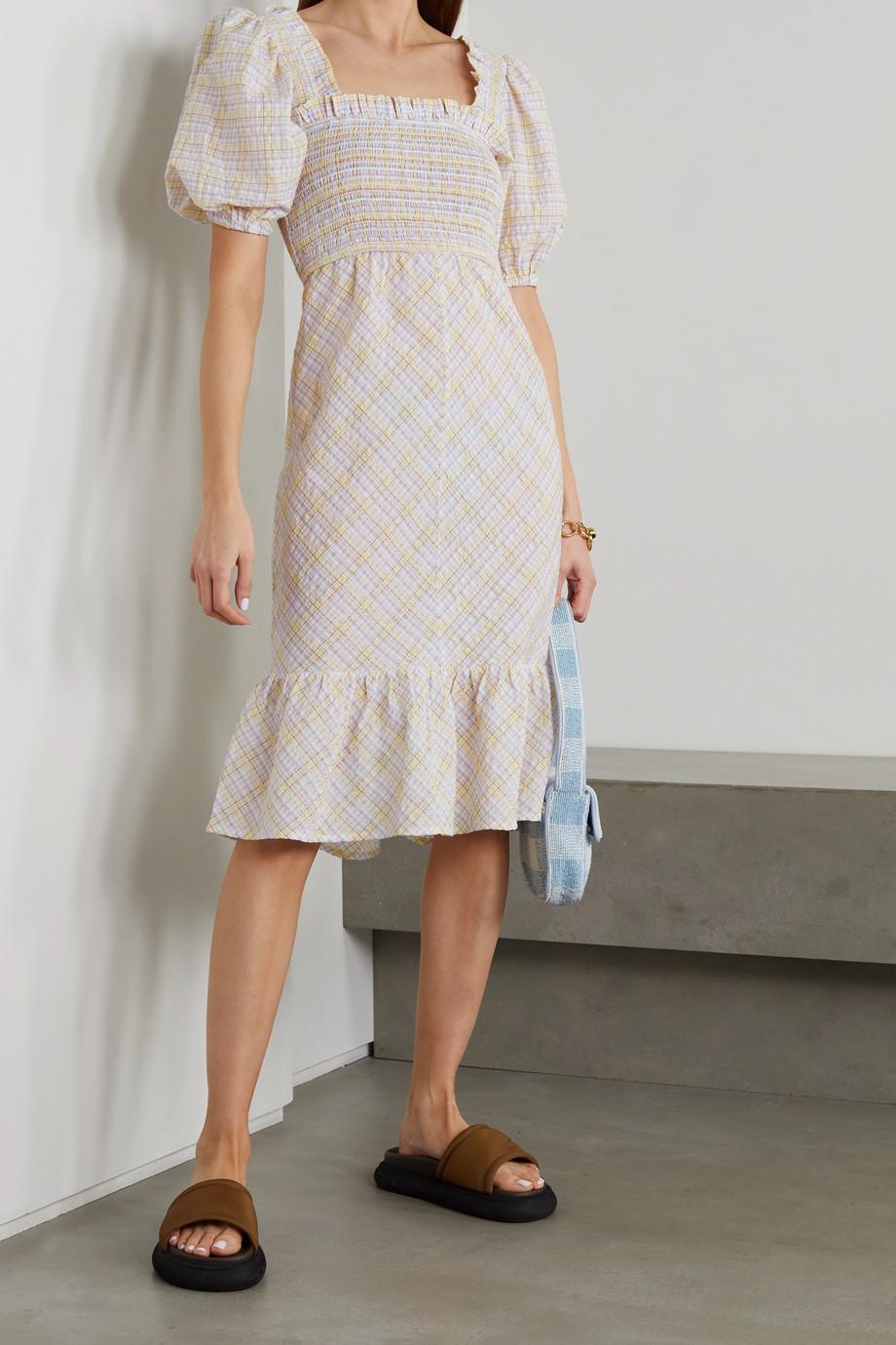 GANNI Checked organic cotton-blend seersucker dress