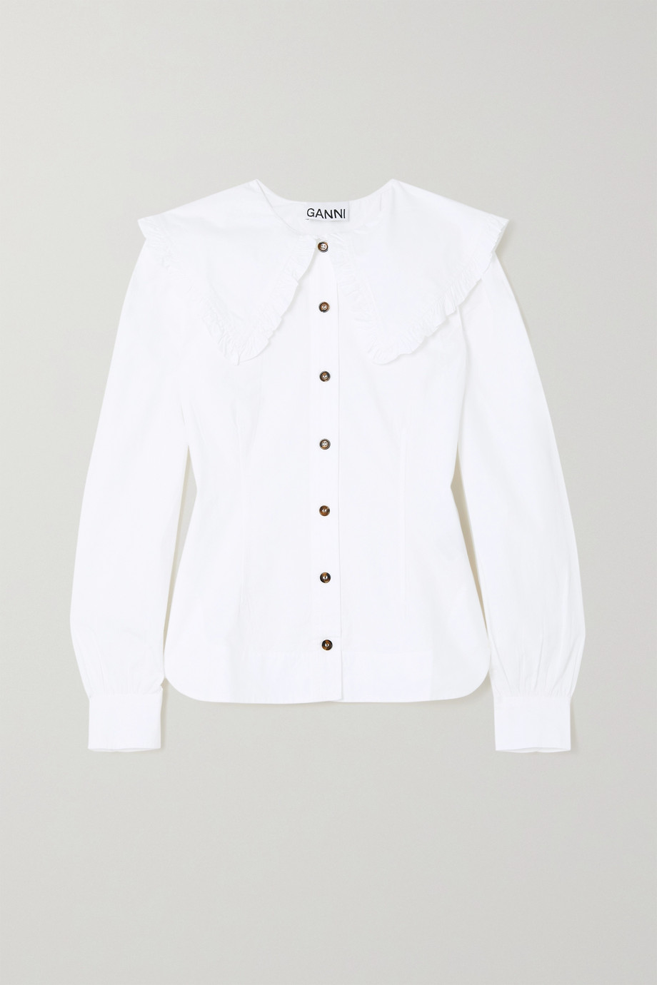 GANNI + NET SUSTAIN ruffled organic cotton-poplin blouse