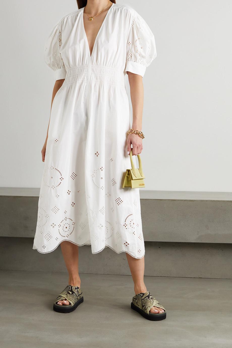 GANNI Broderie anglaise organic cotton midi dress