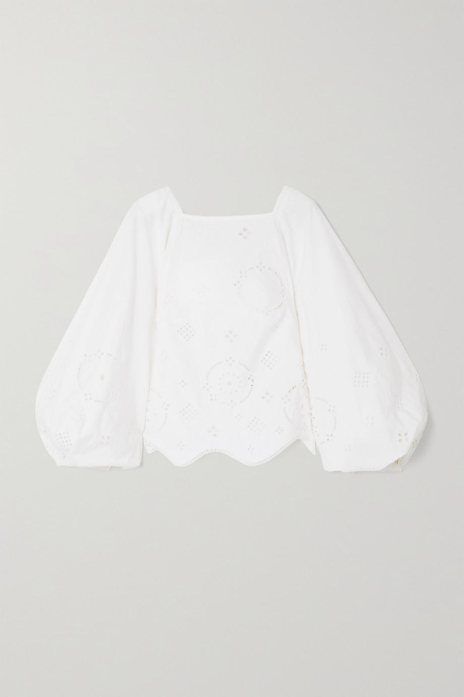 GANNI Blouse dos ouvert en broderie anglaise de coton biologique