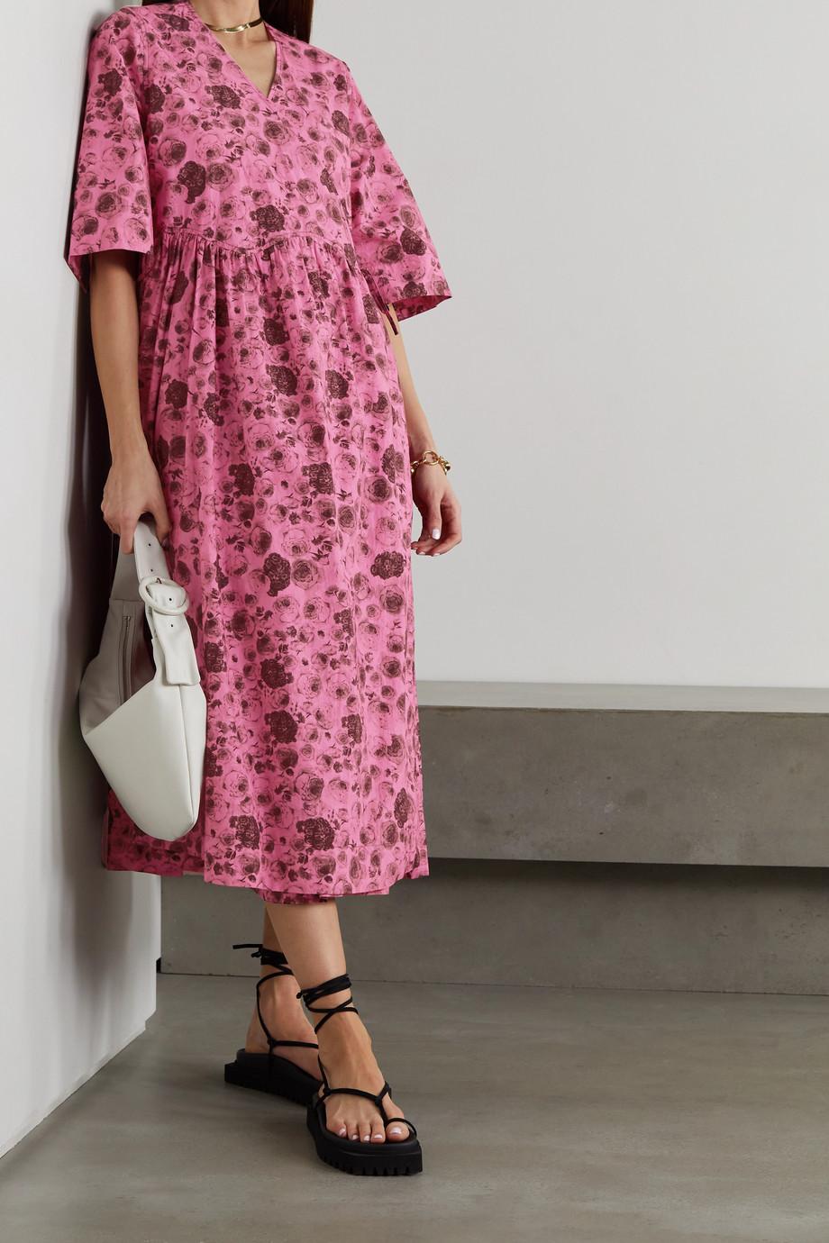 GANNI Floral-print organic cotton-poplin wrap dress