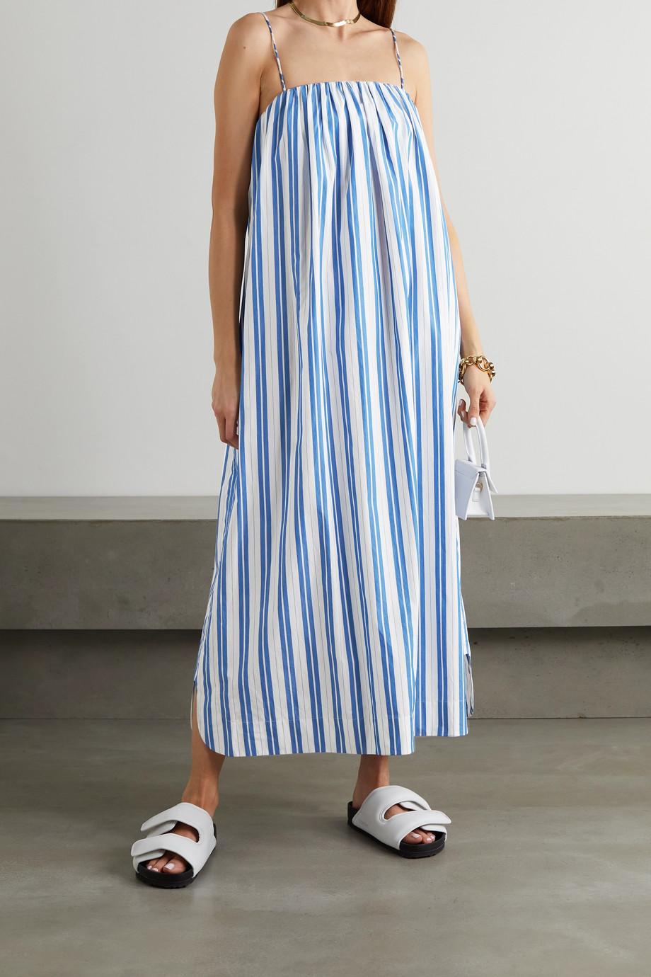 GANNI Striped organic cotton-poplin maxi dress
