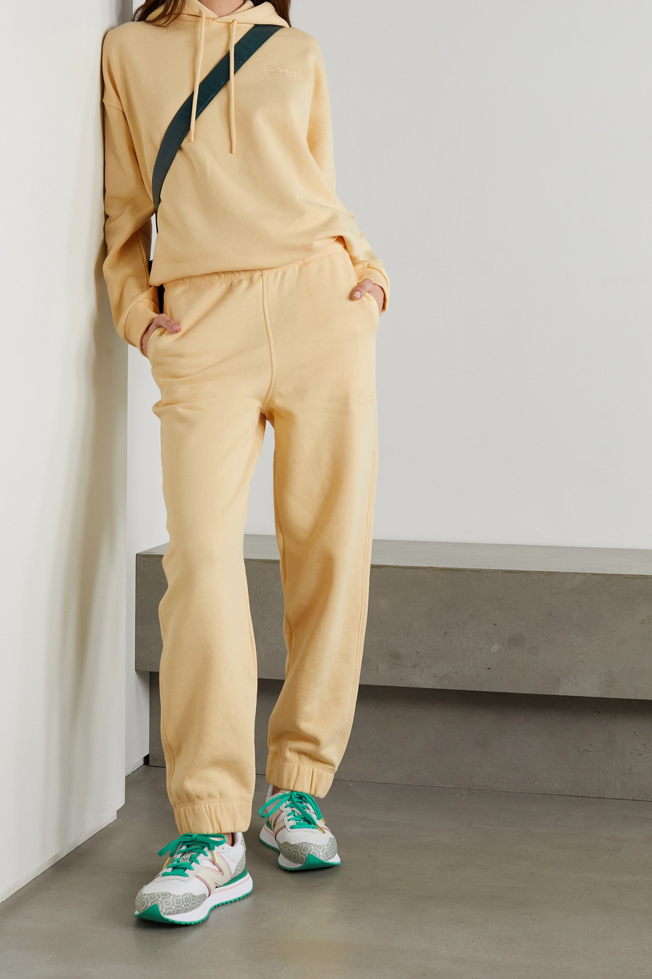GANNI Software embroidered recycled cotton-blend jersey track pants