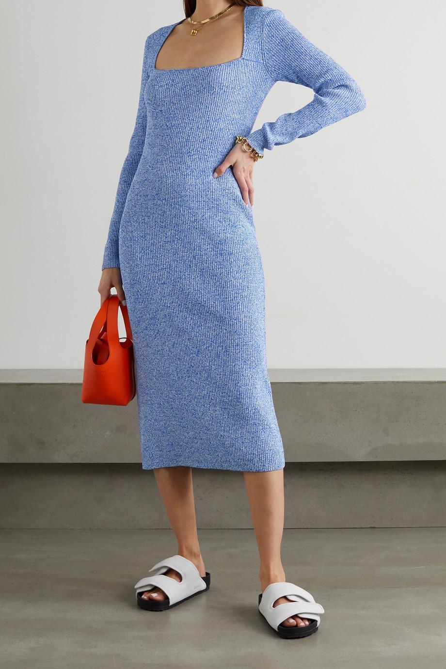 GANNI Mélange ribbed-knit midi dress