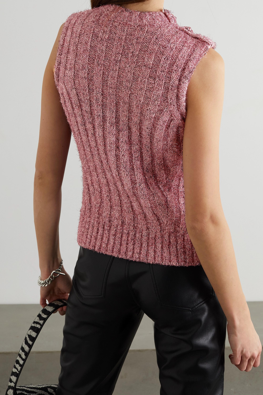 GANNI Ärmelloser Pullover aus Metallic-Rippstrick mit Kristallen