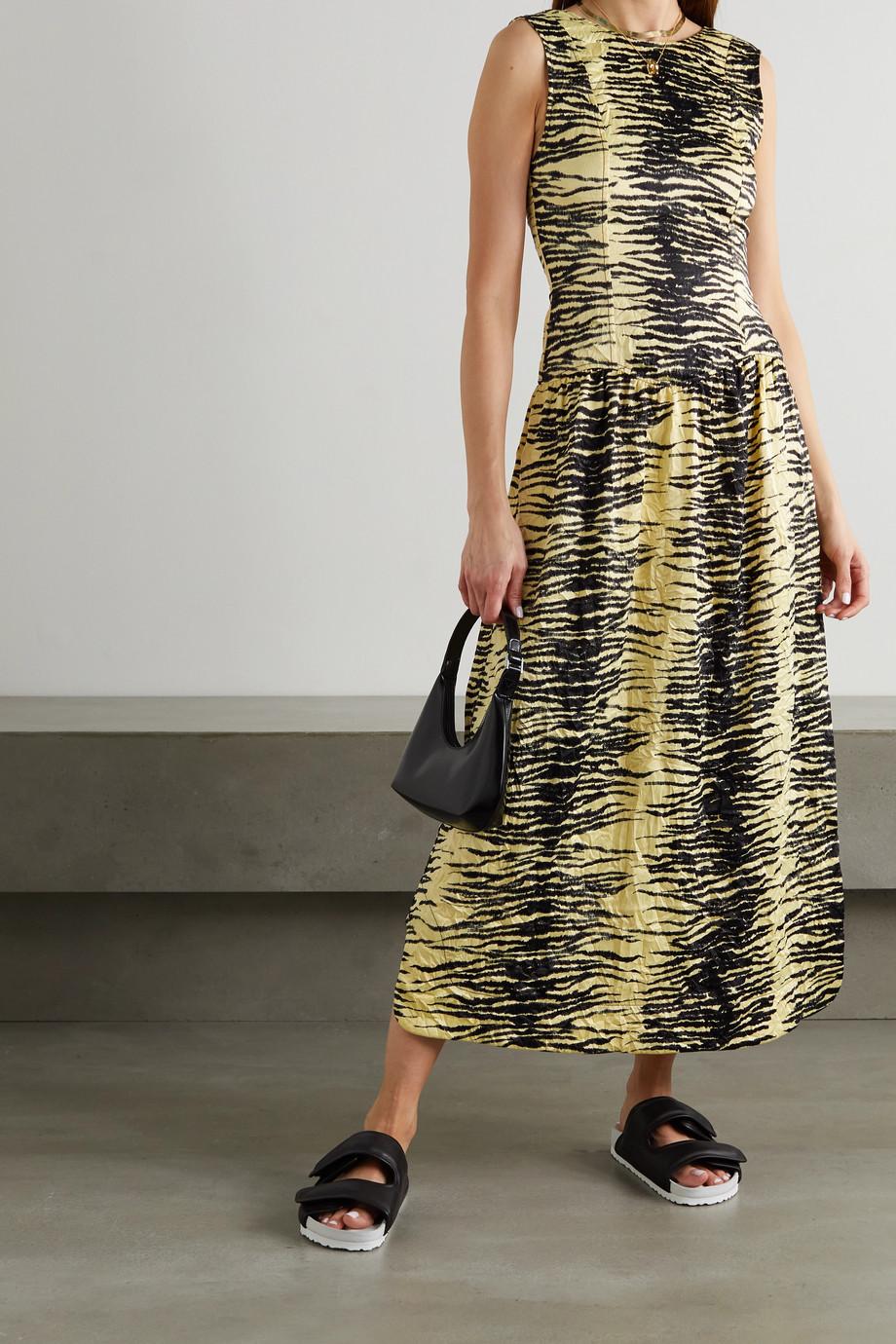 GANNI Zebra-print crinkled-satin midi dress